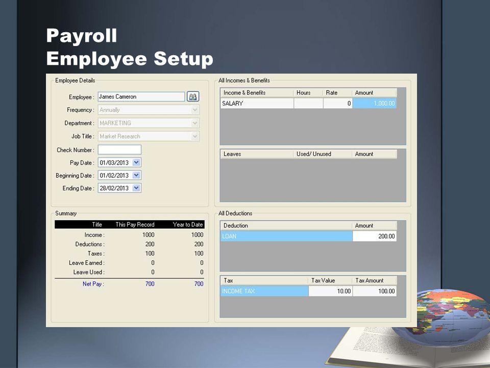 Payroll Employee Setup