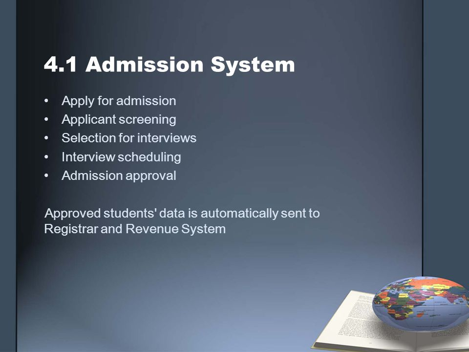 4.1 Admission System Apply for admission Applicant screening Selection for interviews Interview scheduling Admission approval Approved students' data