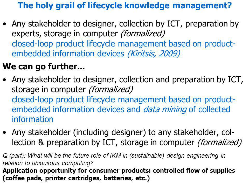 The holy grail of lifecycle knowledge management? Any stakeholder to designer, collection by ICT, preparation by experts, storage in computer (formali