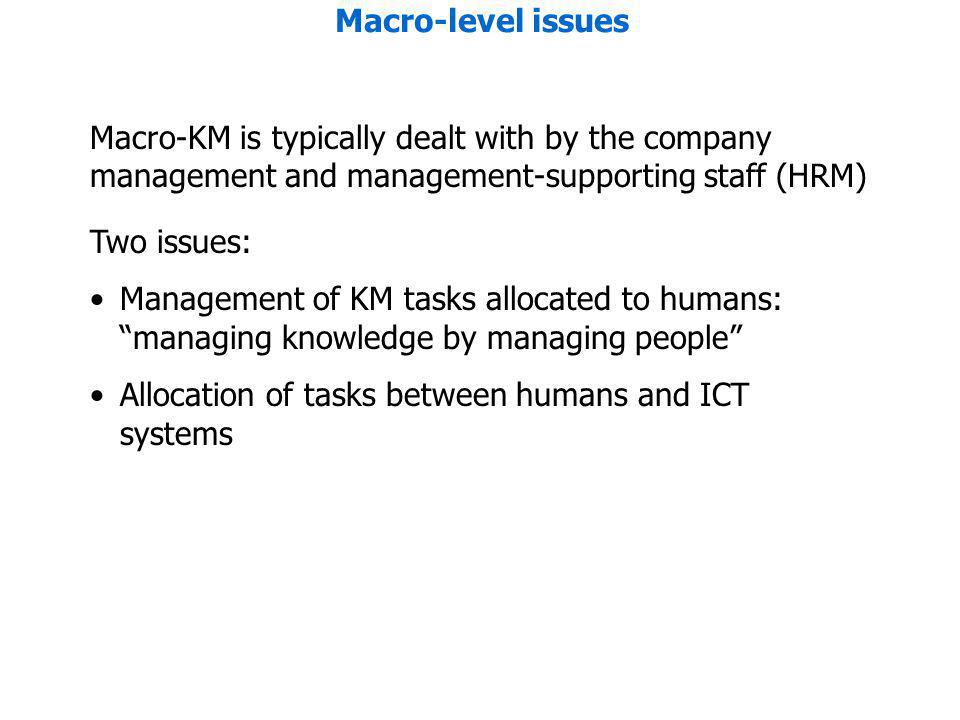 Macro-level issues Macro-KM is typically dealt with by the company management and management-supporting staff (HRM) Two issues: Management of KM tasks