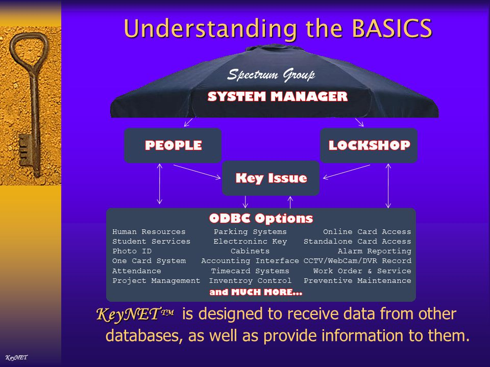 Understanding the BASICS KeyNET TMYour KeyNET TM software is administered by YOUR System Manager.