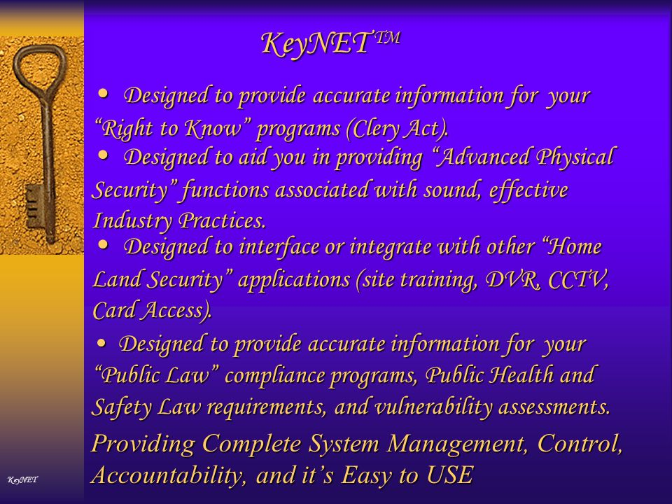 How the KeyNET Lockshop Section Works KeyNET All the functions associated with an e-Lockshop are in KeyNET Automatic Masterkey System Generation Manual KeyID entry Manual Masterkey Systems by LINKING Key IDs Associate Key IDs and Bittings Computerized Key Cutting Computerized Key Stamping Associate Key IDs and Hook numbers.
