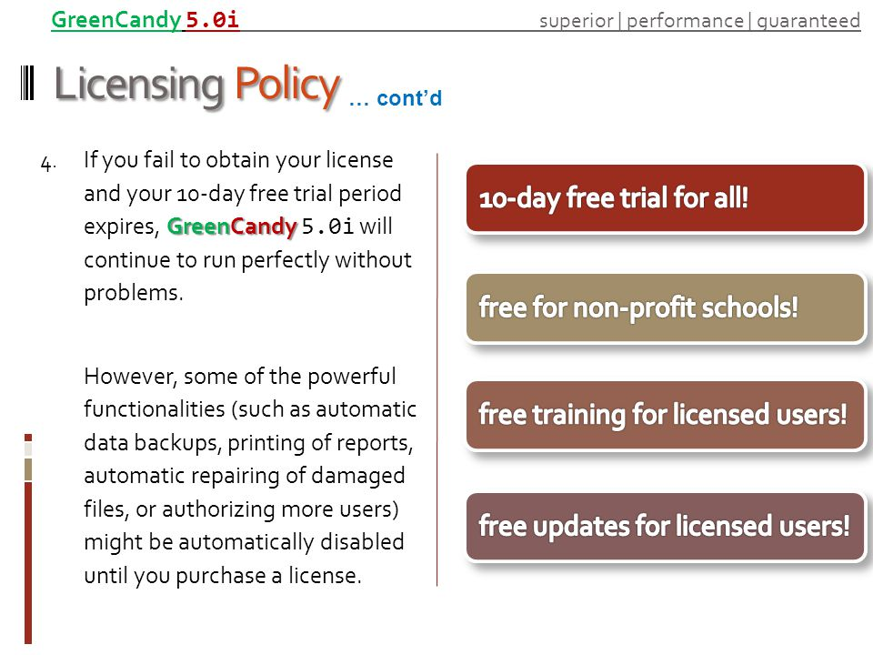 Licensing Policy GreenCandy 4. If you fail to obtain your license and your 10-day free trial period expires, GreenCandy 5.0i will continue to run perf
