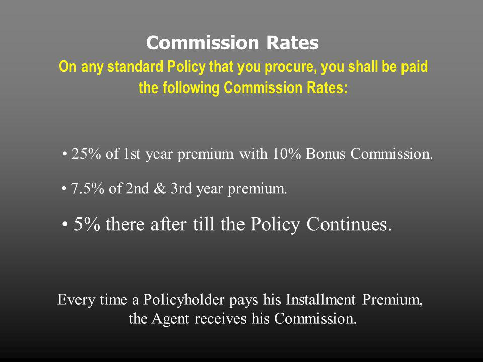 Commission Rates On any standard Policy that you procure, you shall be paid the following Commission Rates: 25% of 1st year premium with 10% Bonus Commission.