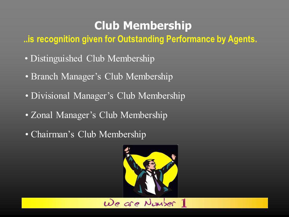 Club Membership..is recognition given for Outstanding Performance by Agents.