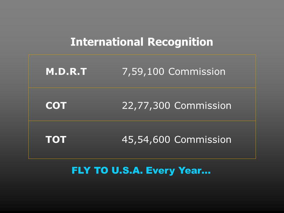 International Recognition M.D.R.T COT TOT 7,59,100 Commission 22,77,300 Commission 45,54,600 Commission FLY TO U.S.A.