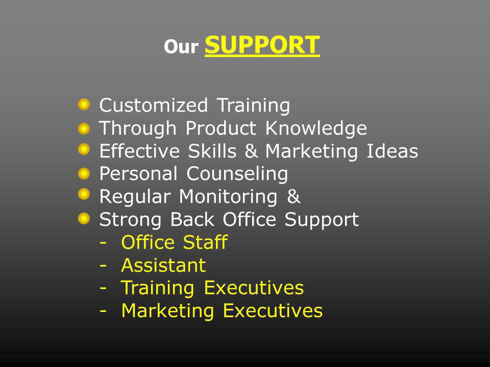 Our SUPPORT Customized Training Through Product Knowledge Effective Skills & Marketing Ideas Personal Counseling Regular Monitoring & Strong Back Office Support - Office Staff - Assistant - Training Executives - Marketing Executives