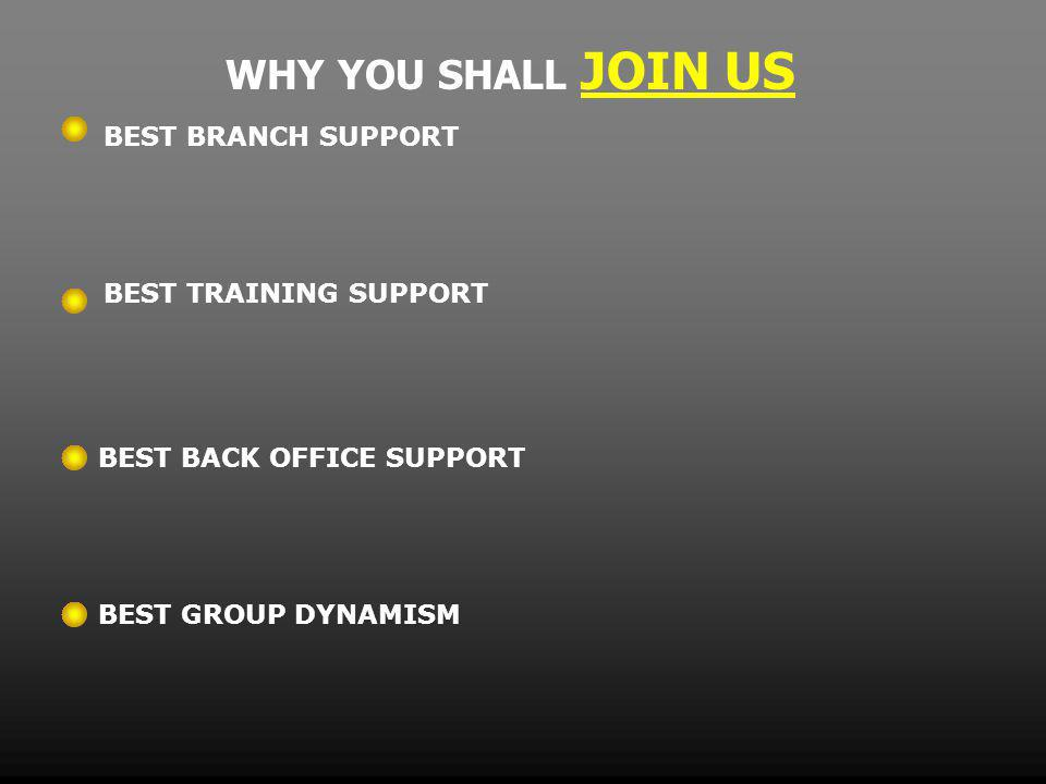 WHY YOU SHALL JOIN US BEST BRANCH SUPPORT BEST TRAINING SUPPORT BEST BACK OFFICE SUPPORT BEST GROUP DYNAMISM