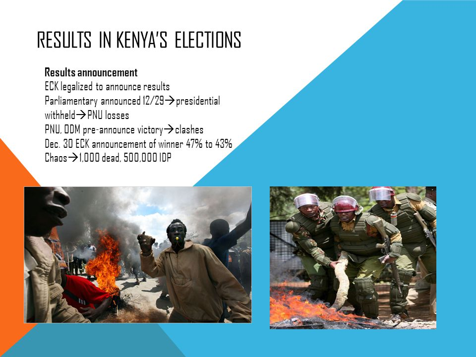 RESULTS IN KENYAS ELECTIONS Results announcement ECK legalized to announce results Parliamentary announced 12/29 presidential withheld PNU losses PNU,