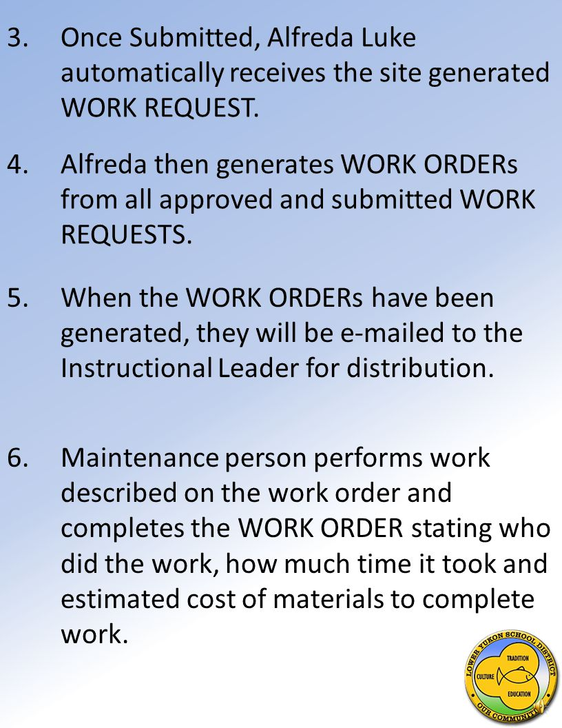 4.Instructional Leader Reviews WORK REQUEST, approves or disapproves it, then submits it for action.