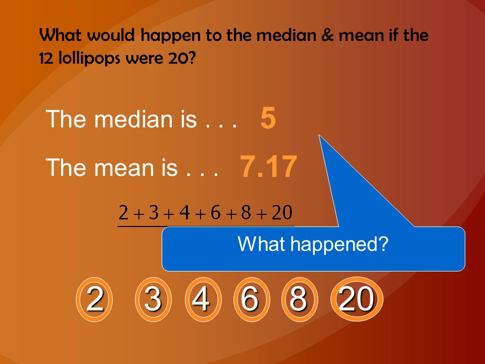 What would happen to the median & mean if the 12 lollipops were 20? 2 3 4 6 8 20 The median is... 5 The mean is... 7.17 What happened?
