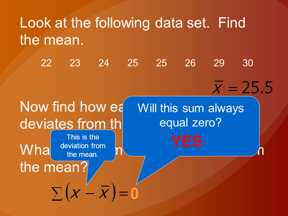 Now find how each observation deviates from the mean. What is the sum of the deviations from the mean? Look at the following data set. Find the mean.