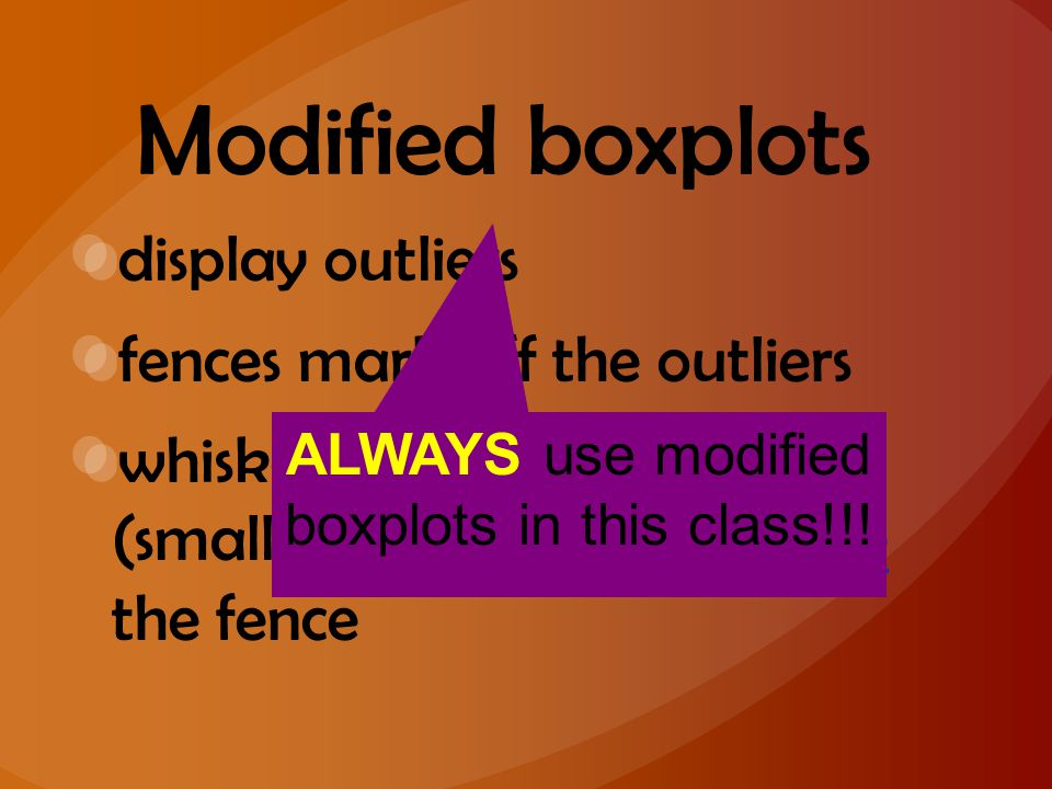 Modified boxplots display outliers fences mark off the outliers whiskers extend to largest (smallest) data value inside the fence ALWAYS use modified
