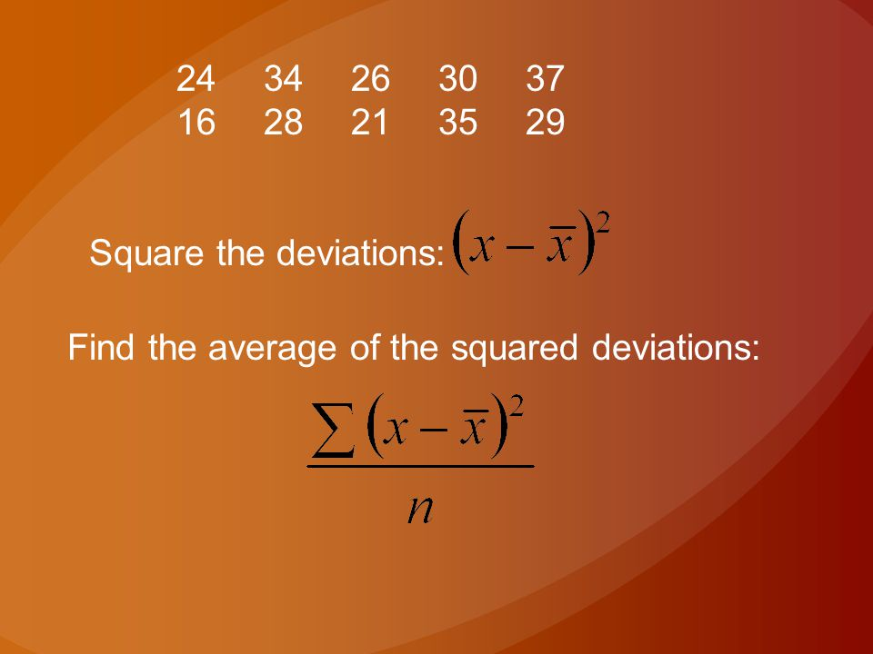 2434263037 1628213529 Square the deviations: Find the average of the squared deviations: