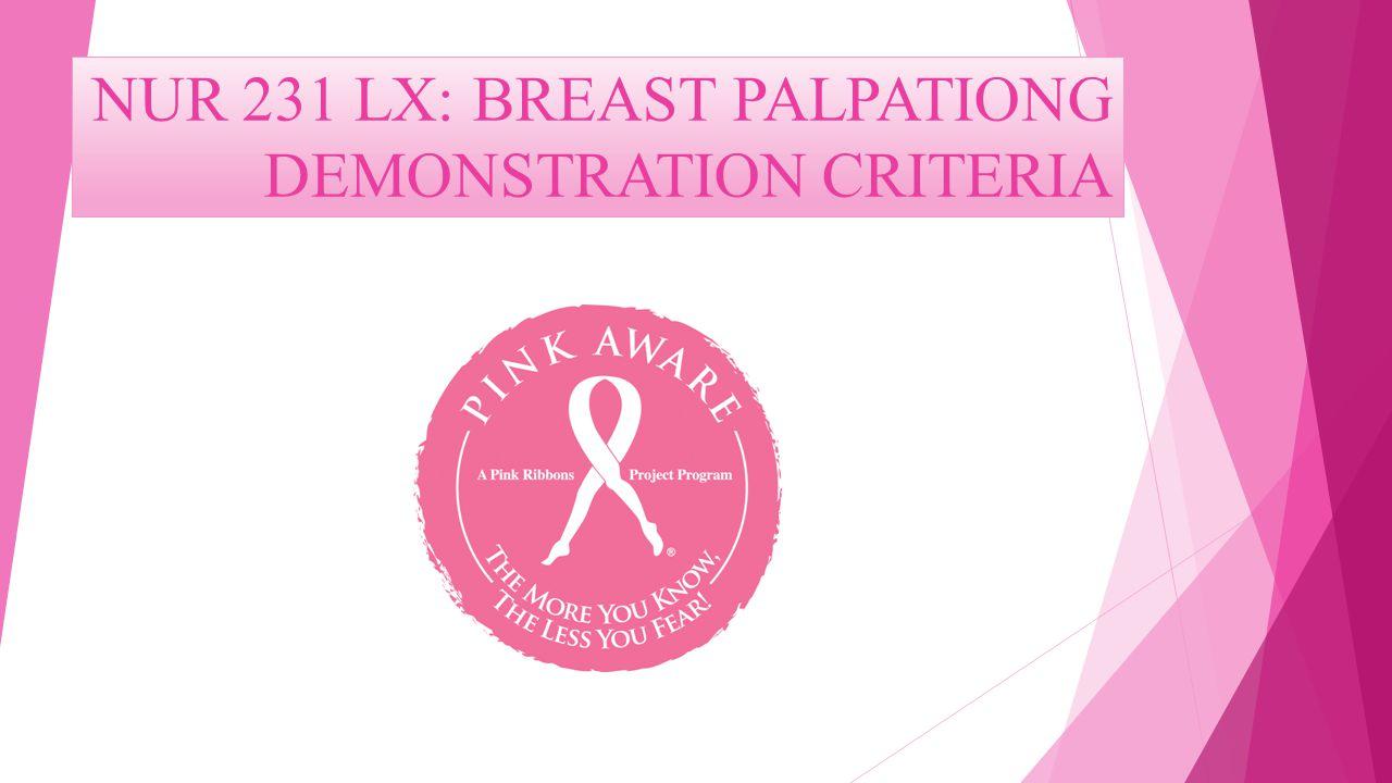 NUR 231 LX: BREAST PALPATIONG DEMONSTRATION CRITERIA