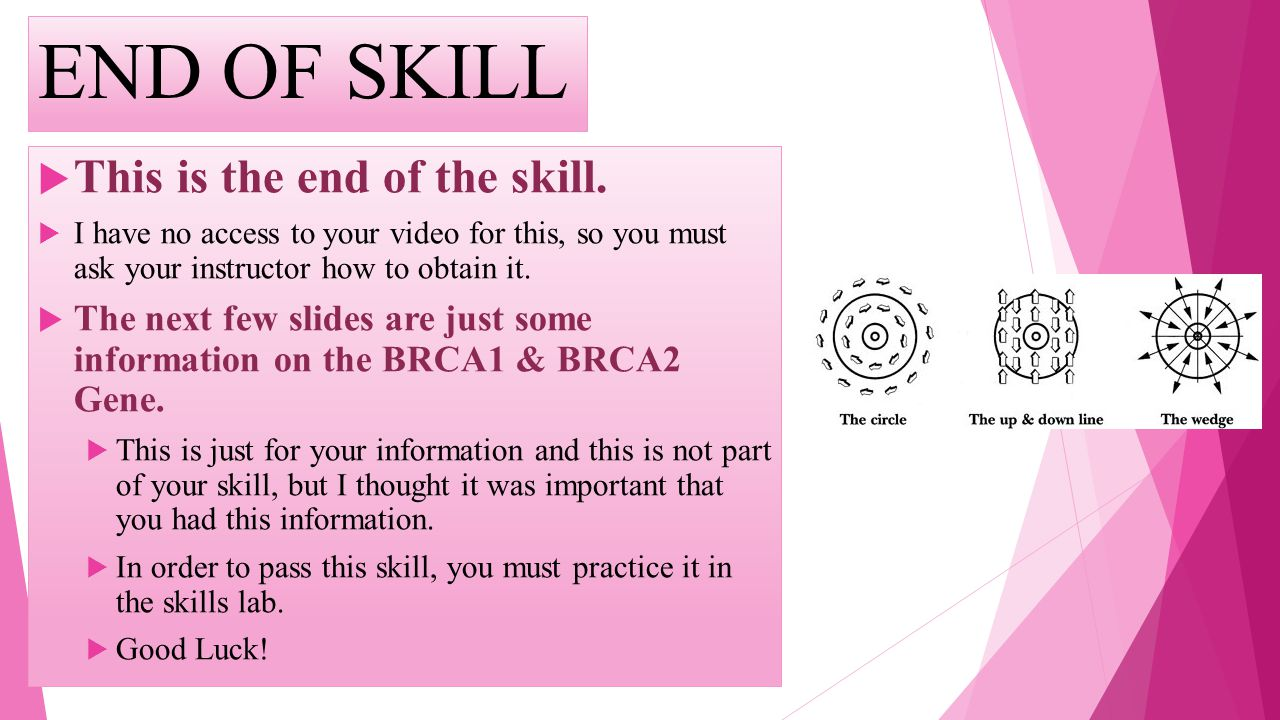 END OF SKILL This is the end of the skill. I have no access to your video for this, so you must ask your instructor how to obtain it. The next few sli