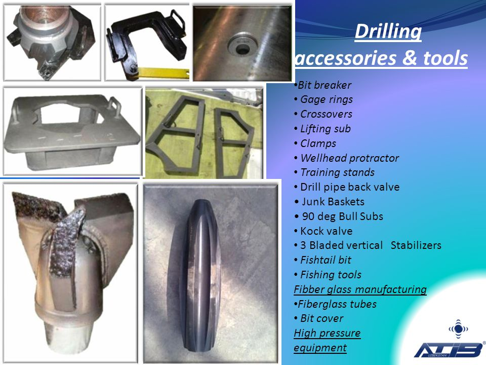 Drilling accessories & tools Bit breaker Gage rings Crossovers Lifting sub Clamps Wellhead protractor Training stands Drill pipe back valve Junk Baske