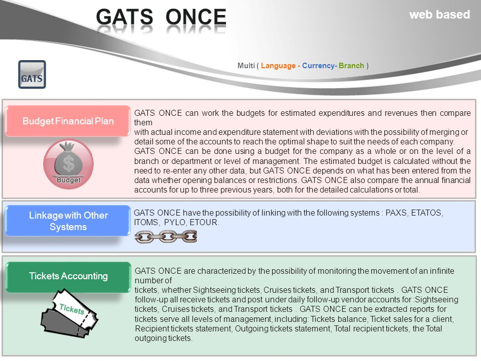 Multi ( Language - Currency- Branch ) GATS ONCE can work the budgets for estimated expenditures and revenues then compare them with actual income and expenditure statement with deviations with the possibility of merging or detail some of the accounts to reach the optimal shape to suit the needs of each company.
