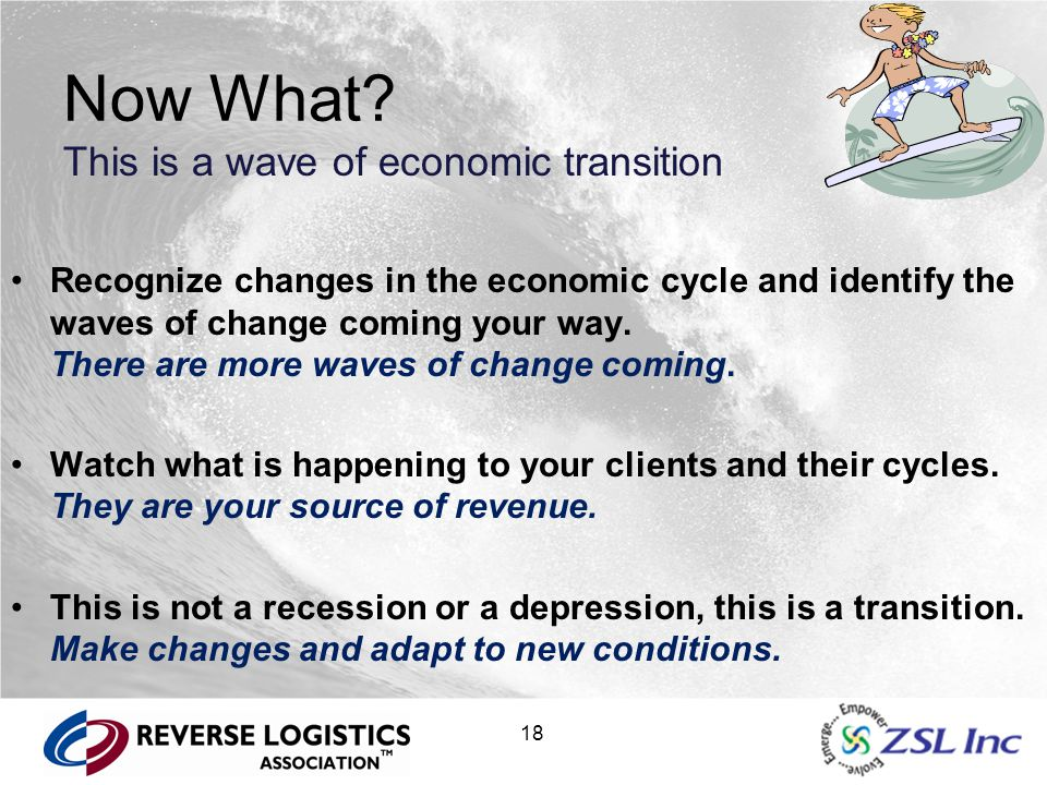 18 Now What? This is a wave of economic transition Recognize changes in the economic cycle and identify the waves of change coming your way. There are
