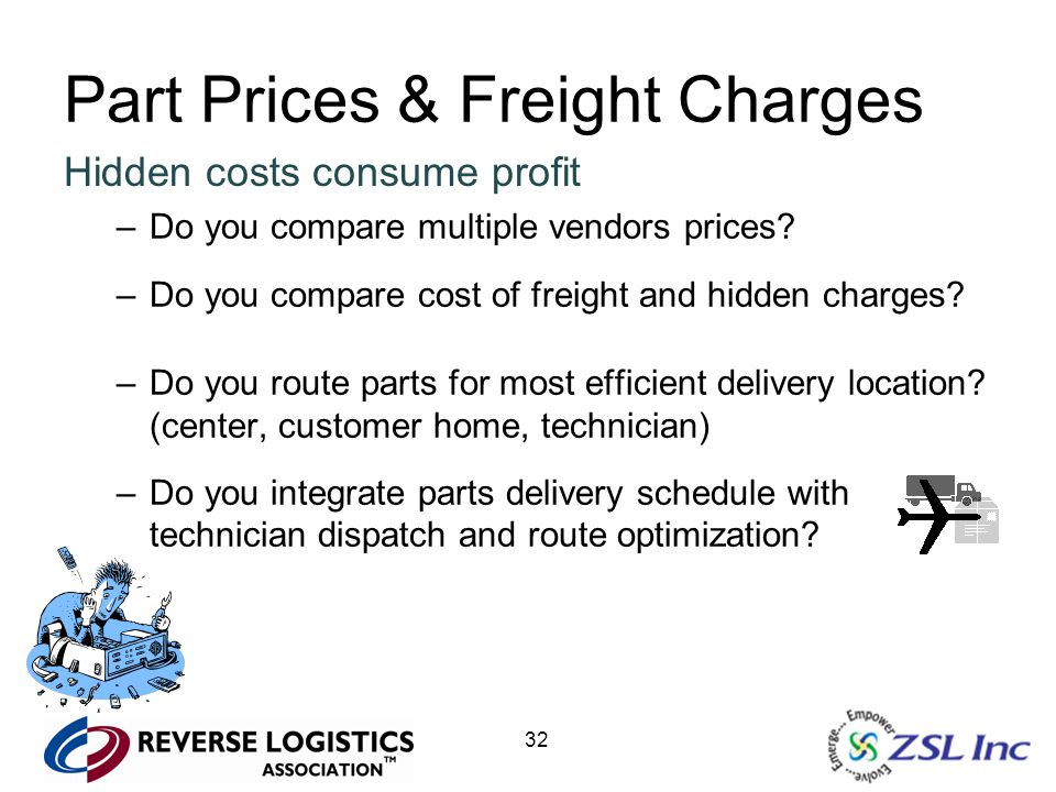 32 Part Prices & Freight Charges Hidden costs consume profit –Do you compare multiple vendors prices? –Do you compare cost of freight and hidden charg
