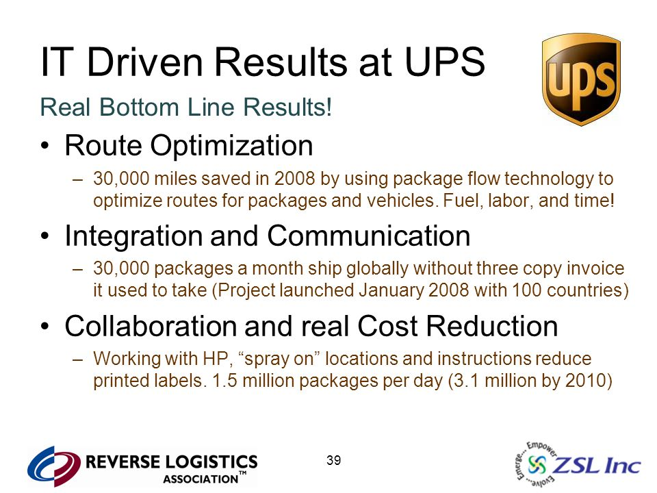 39 IT Driven Results at UPS Real Bottom Line Results! Route Optimization –30,000 miles saved in 2008 by using package flow technology to optimize rout