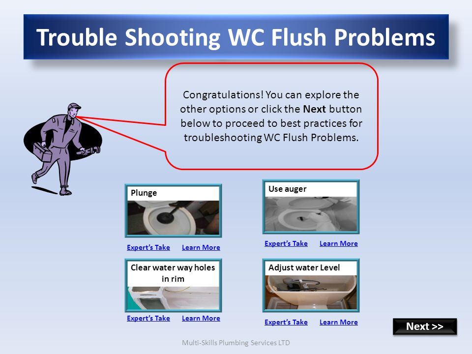 Multi-Skills Plumbing Services LTD Trouble Shooting WC Flush Problems Congratulations.