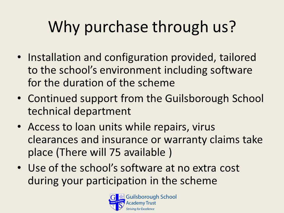 Why purchase through us.