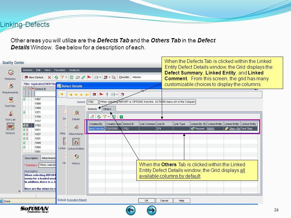 Linking Defects When the Defects Tab is clicked within the Linked Entity Defect Details window, the Grid displays the Defect Summary, Linked Entity, a