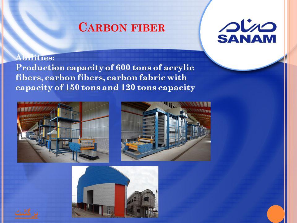 C ARBON FIBER Abilities: Production capacity of 600 tons of acrylic fibers, carbon fibers, carbon fabric with capacity of 150 tons and 120 tons capaci