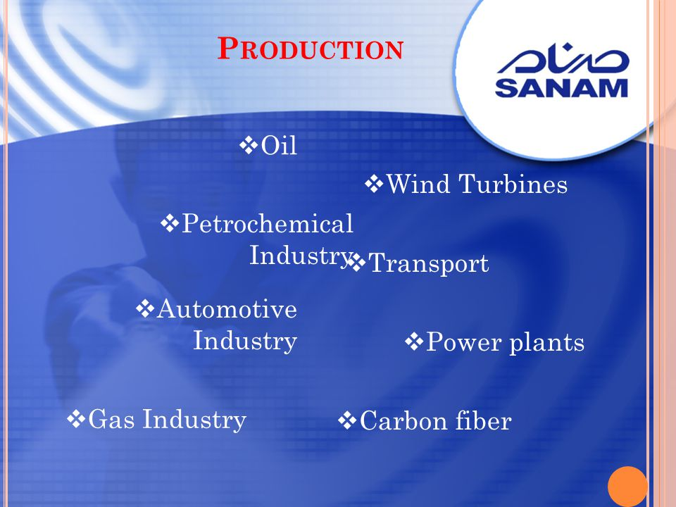 P RODUCTION Oil Gas Industry Petrochemical Industry Automotive Industry Transport Wind Turbines Power plants Carbon fiber