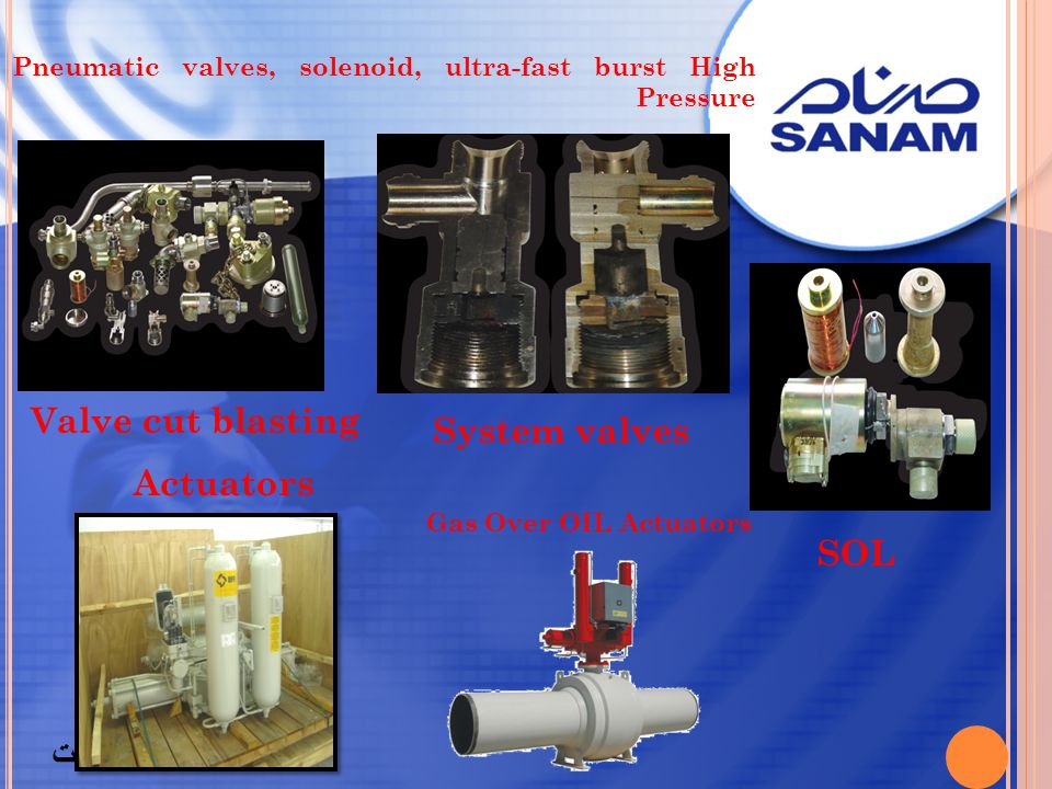 Pneumatic valves, solenoid, ultra-fast burst High Pressure System valves SOL Valve cut blasting برگشت Gas Over OIL Actuators Actuators