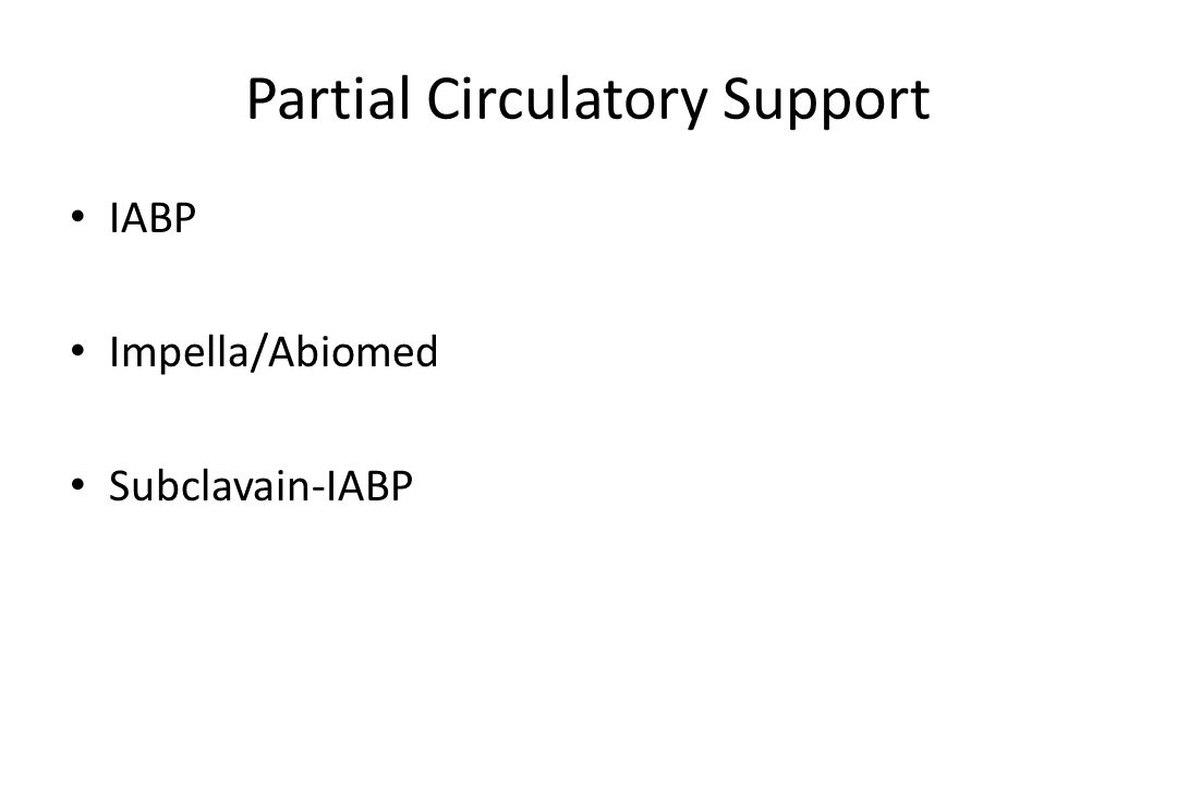 Partial Circulatory Support IABP Impella/Abiomed Subclavain-IABP