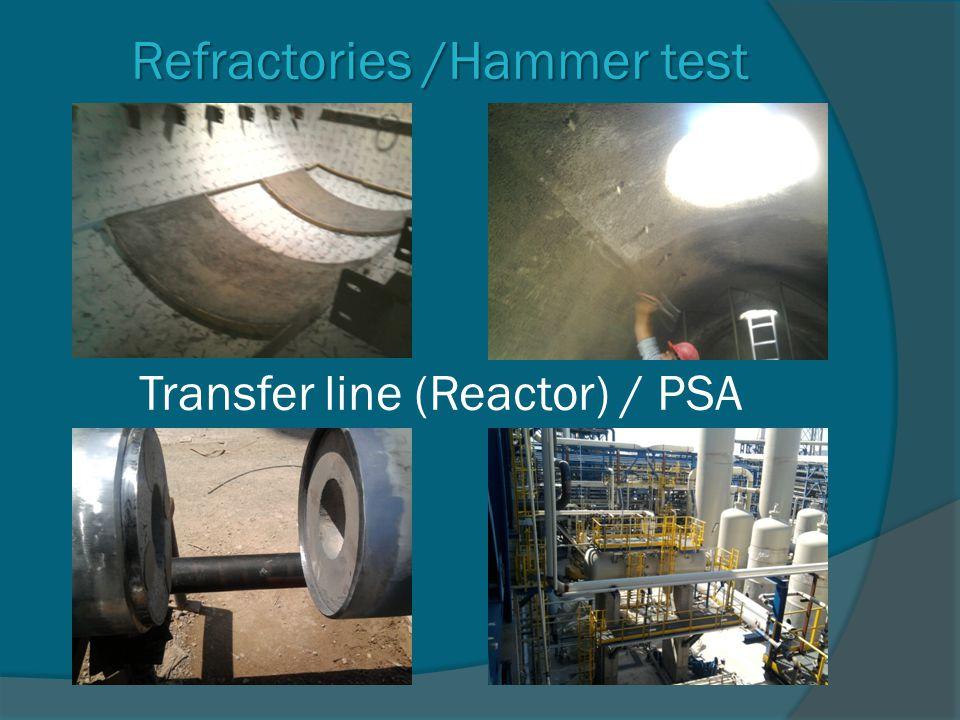 Refractories /Hammer test Transfer line (Reactor) / PSA