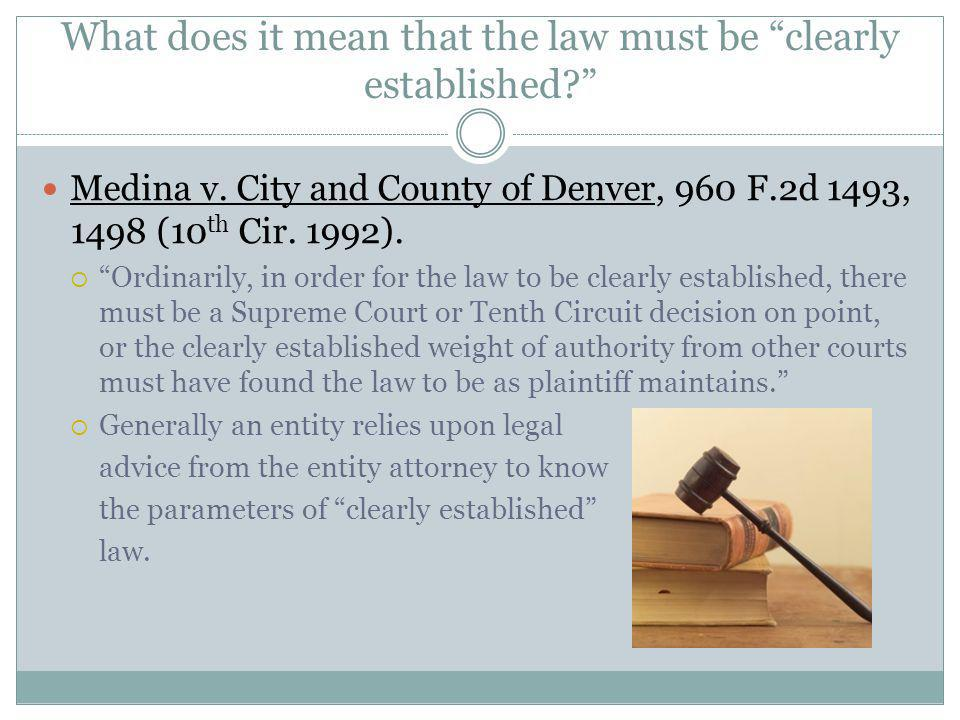 What does it mean that the law must be clearly established? Medina v. City and County of Denver, 960 F.2d 1493, 1498 (10 th Cir. 1992). Ordinarily, in