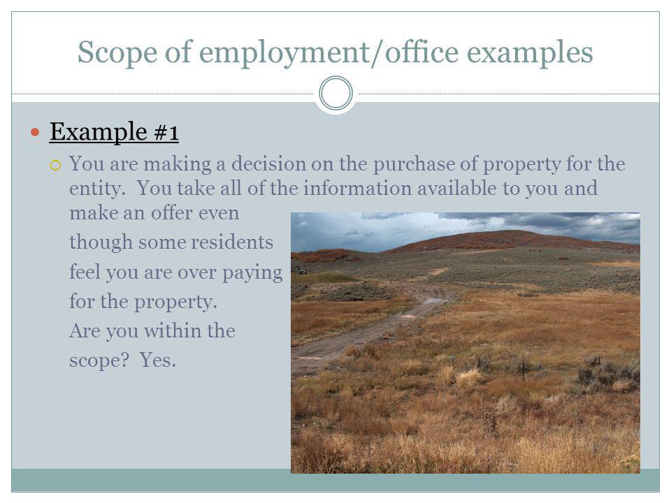 Scope of employment/office examples Example #1 You are making a decision on the purchase of property for the entity. You take all of the information a