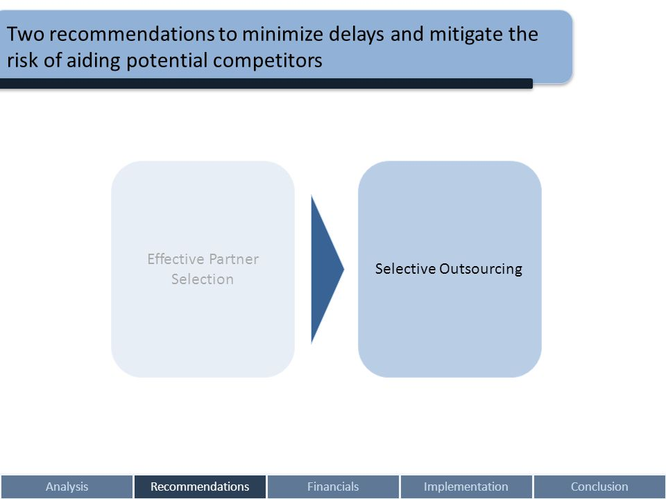 AnalysisRecommendationsFinancialsImplementationConclusion Two recommendations to minimize delays and mitigate the risk of aiding potential competitors