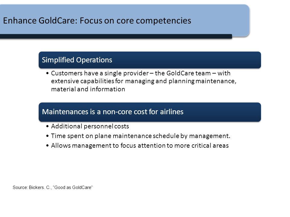 Enhance GoldCare: Focus on core competencies Simplified Operations Customers have a single provider – the GoldCare team – with extensive capabilities