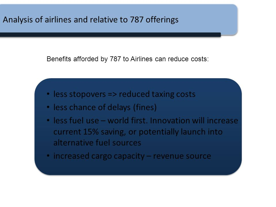 Analysis of airlines and relative to 787 offerings less stopovers => reduced taxing costs less chance of delays (fines) less fuel use – world first. I