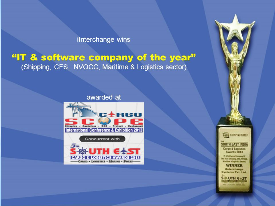 iInterchange wins IT & software company of the year (Shipping, CFS, NVOCC, Maritime & Logistics sector) awarded at