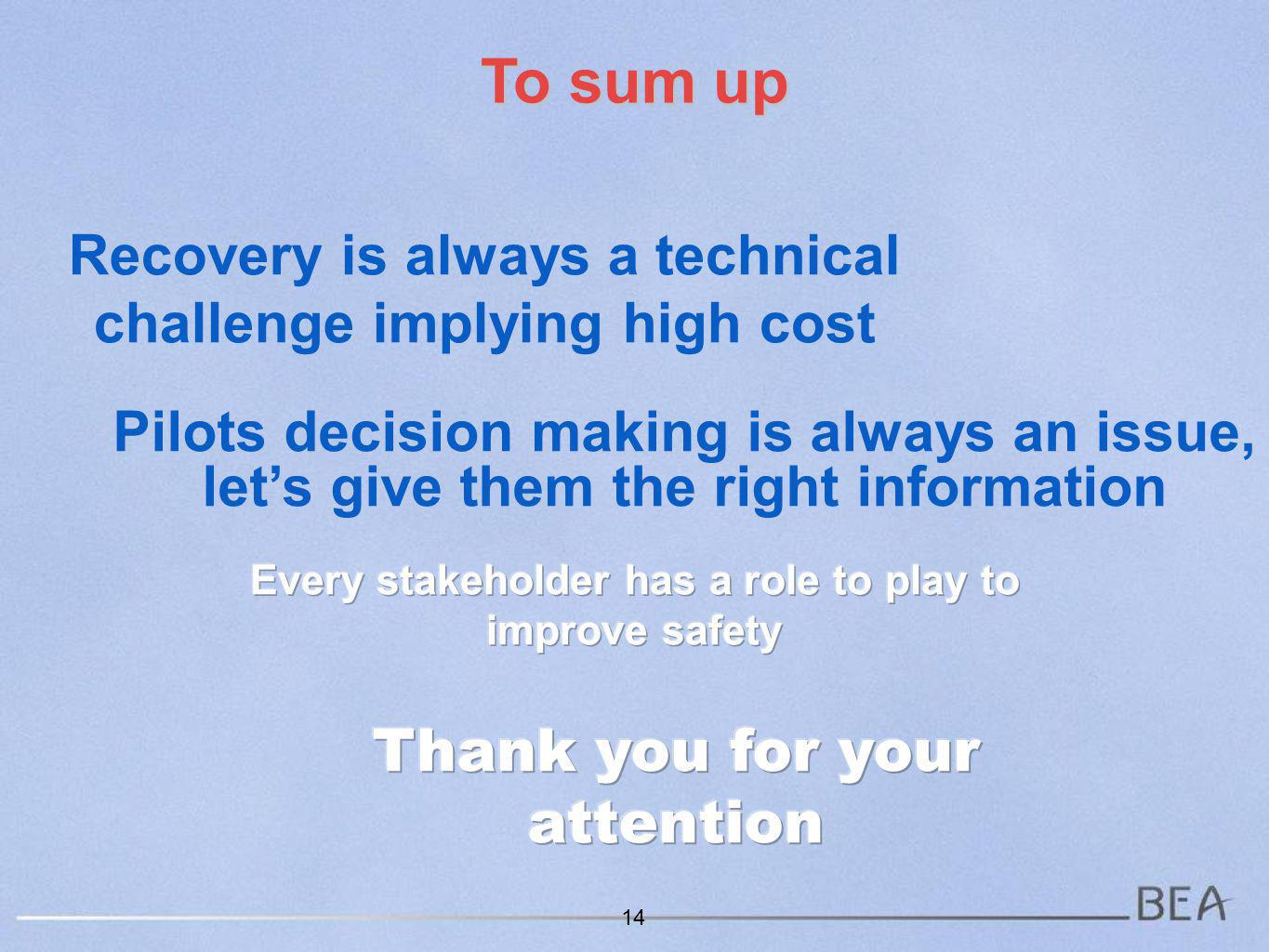 Recovery is always a technical challenge implying high cost 14 To sum up Pilots decision making is always an issue, lets give them the right information