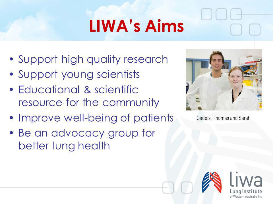LIWAs Aims Support high quality research Support young scientists Educational & scientific resource for the community Improve well-being of patients B