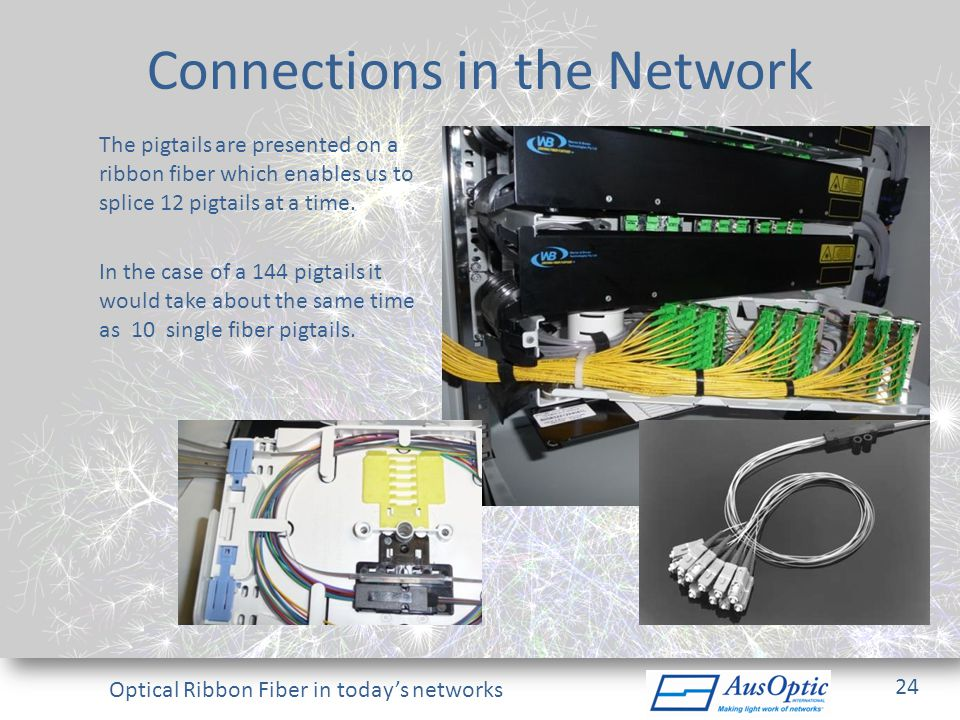Optical Ribbon Fiber in todays networks Connections in the Network The pigtails are presented on a ribbon fiber which enables us to splice 12 pigtails