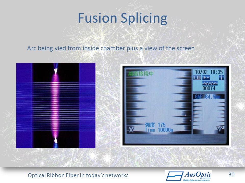 Optical Ribbon Fiber in todays networks Fusion Splicing Arc being vied from inside chamber plus a view of the screen 30
