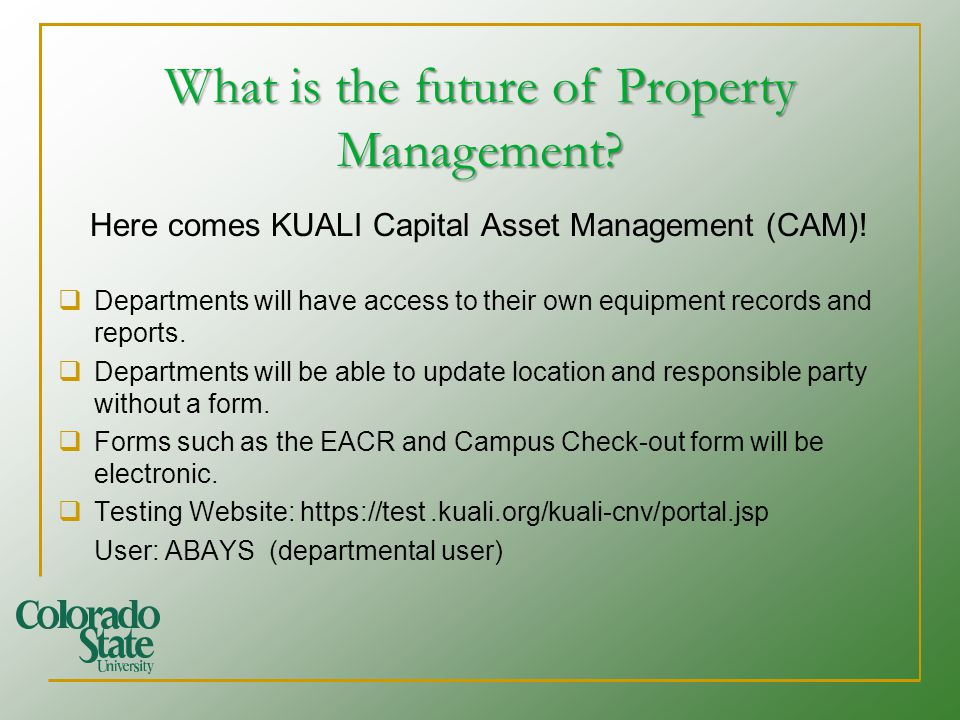 What is the future of Property Management. Here comes KUALI Capital Asset Management (CAM).