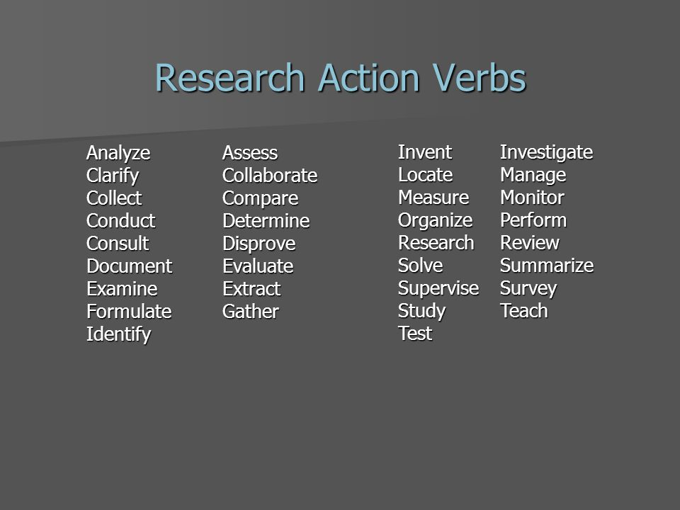 Research Action Verbs Analyze Assess ClarifyCollaborate CollectCompare ConductDetermine ConsultDisprove DocumentEvaluate ExamineExtract FormulateGather Identify InventInvestigate Locate Manage MeasureMonitor OrganizePerform ResearchReview SolveSummarize SuperviseSurvey StudyTeach Test