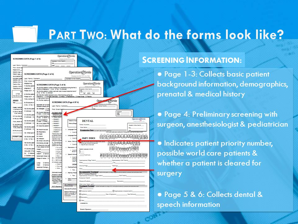 Page 1-3: Collects basic patient background information, demographics, prenatal & medical history Page 4: Preliminary screening with surgeon, anesthes
