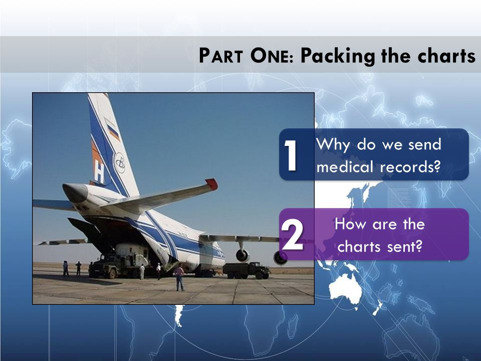 P ART O NE: Packing the charts How are the charts sent? Why do we send medical records? 1 2