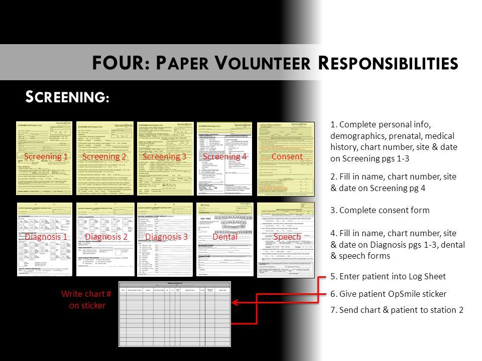 S CREENING: Screening 1Screening 2Screening 3Screening 4 Consent Diagnosis 1Diagnosis 2 Diagnosis 3Dental Speech 1.