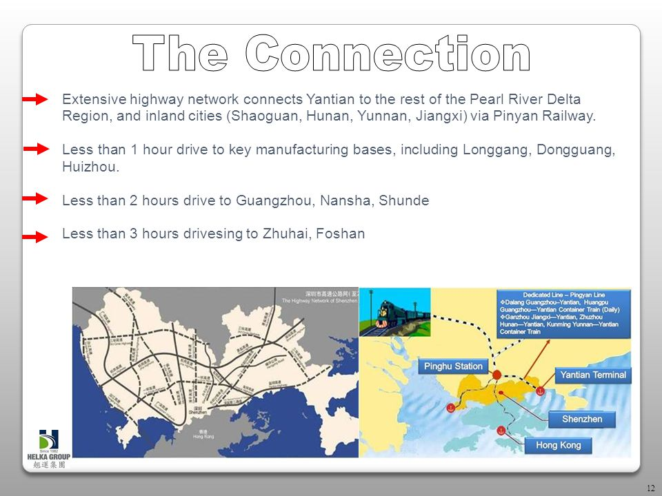 12 Extensive highway network connects Yantian to the rest of the Pearl River Delta Region, and inland cities (Shaoguan, Hunan, Yunnan, Jiangxi) via Pinyan Railway.