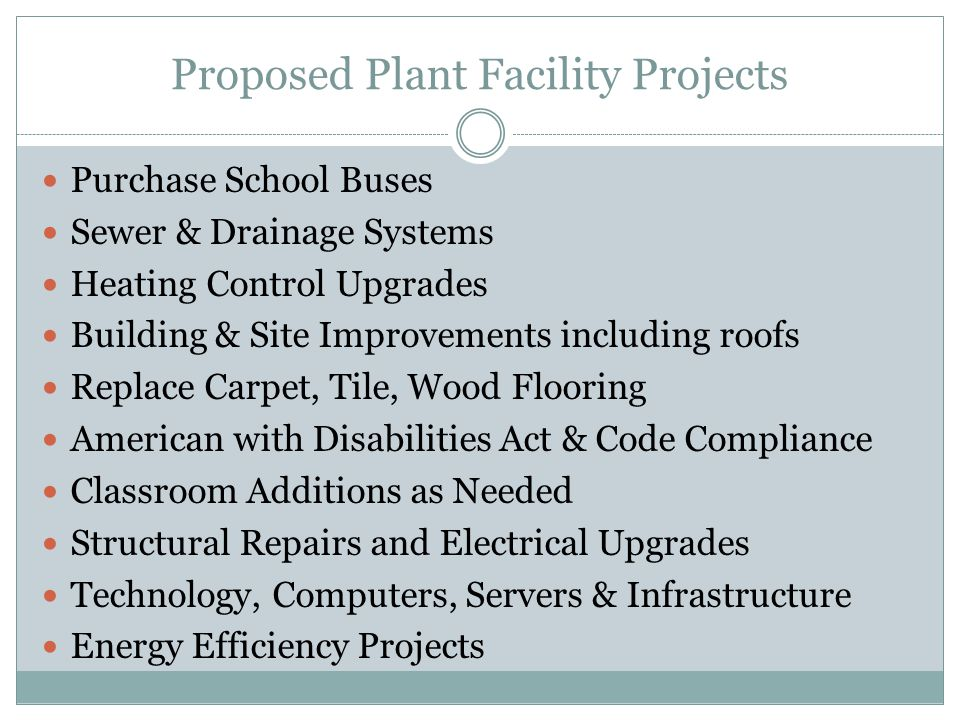 Proposed Plant Facility Projects Purchase School Buses Sewer & Drainage Systems Heating Control Upgrades Building & Site Improvements including roofs